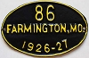 1926 City of Farmington, Missouri license plate # 86