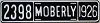 1926 City of Moberly, Missouri license plate # 2398