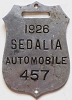 1926 City of Sedalia, Missouri license plate # 457