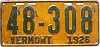 1926 VERMONT license plate # 48-308