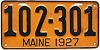 1927 MAINE license plate # 102-301