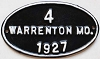1927 City of Warrenton, Missouri license plate # 4