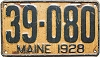1928 MAINE license plate # 39-080