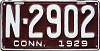1929 CONNECTICUT license plate # N-2902
