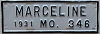 1931 City of Marceline, Missouri license plate # 346