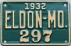 1932 City of Eldon, Missouri license plate # 297