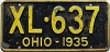 1935 OHIO license plate # XL-637