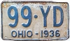 1936 OHIO license plate # 99-YD - Shorty !