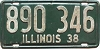 1938 ILLINOIS old license plate # 890 346