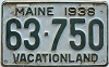 1938 MAINE license plate # 63-750