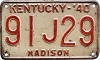 1940 KENTUCKY license plate # 91J29, Madison County