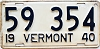 1940 VERMONT license plate # 59 354