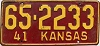 1941 Kansas license plate # 2233, Ottawa County