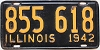 1942 ILLINOIS old license plate # 855 618