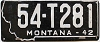 1942 MONTANA Truck license plate # 281, Mineral County