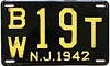 1942 NEW JERSEY license plate # BW19T