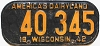 1942 Wisconsin license plate # 40-345