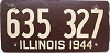 1944 ILLINOIS old license plate # 635 327