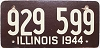 1944 ILLINOIS old license plate # 929 599