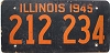 1945 ILLINOIS old license plate # 212 234