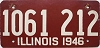 1946 ILLINOIS old license plate # 1061 212