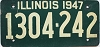 1947 ILLINOIS old license plate # 1304 202