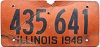 1948 ILLINOIS old license plate # 435 641