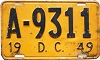 1949 Washington D.C. license plate # A-9311