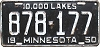 1950 MINNESOTA license plate # 878-177