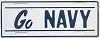 1950s or 1960s Go Navy booster front license plate