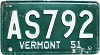 1951 Vermont # AS792