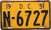 1951 Washington D.C. license plate # N-6727
