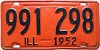 1952 ILLINOIS old license plate # 991 298