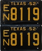 1952 TEXAS license plates pair # 8119