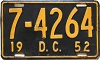 1952 Washington D.C. license plate # 7-4264