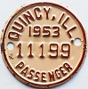 1953 Quincy Illinois Passenger Auto Tax Tag # 11199