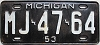 1953 Michigan # MJ-47-64