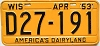 1953 Wisconsin license plate # D27-191