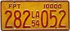 1954 LOUISIANA Forest Products Truck license plate # 282-052
