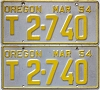 1954 OREGON TRUCK license plates pair # T27-40
