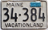 1955 MAINE license plate # 34-384