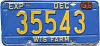 1956 Wisconsin Farm Truck license plate # 35543