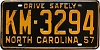 1957 North Carolina # KM-3294