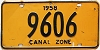 1958 CANAL ZONE license plate # 9606