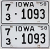 1958 IOWA license plates pair # 1093, Page County