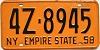 1958 New York Empire State license plate # 4Z-8945