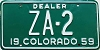 1959 Colorado Dealer low # ZA-2, Custer County
