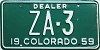 1959 Colorado Dealer low # ZA-3, Custer County