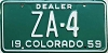 1959 Colorado Dealer low # ZA-4, Custer County