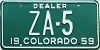 1959 Colorado Dealer low # ZA-5, Custer County